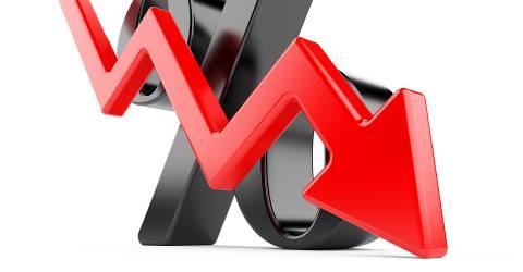 rente daling, krediet, procent, pijl, dalende pijl